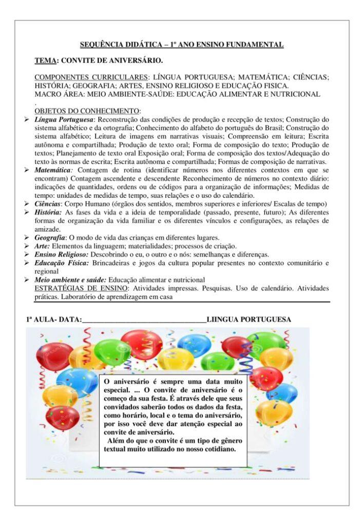 CADERNO DE ATIVIDADES 1 ANO