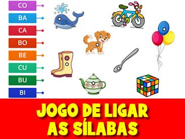 JOGO DE LIGAR AS SÍLABAS COM IMAGENS