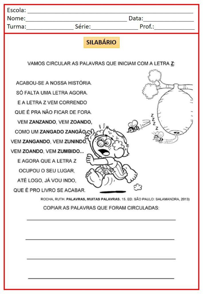 ATIVIDADES DO SILABÁRIO - A A Z