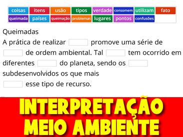 INTERPRETAÇÃO DE TEXTO - MEIO AMBIENTE