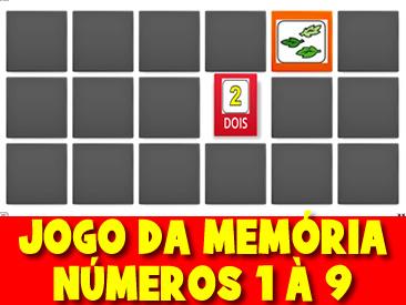 JOGO DA MEMÓRIA DOS NÚMEROS DE 1 A 9