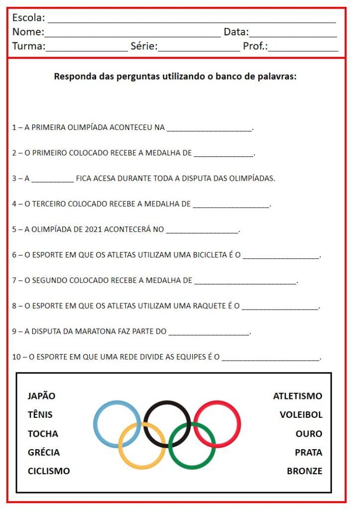 Atividades para as olimpíadas de 2021