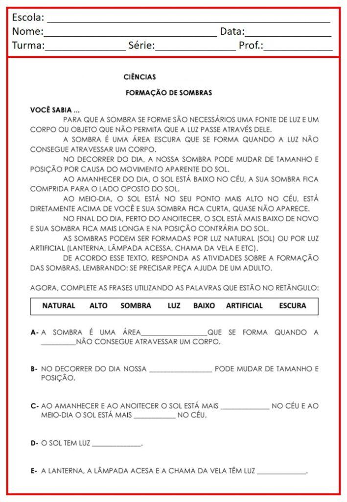 CADERNO DE ATIVIDADES PARA CIÊNCIAS 2 ANO
