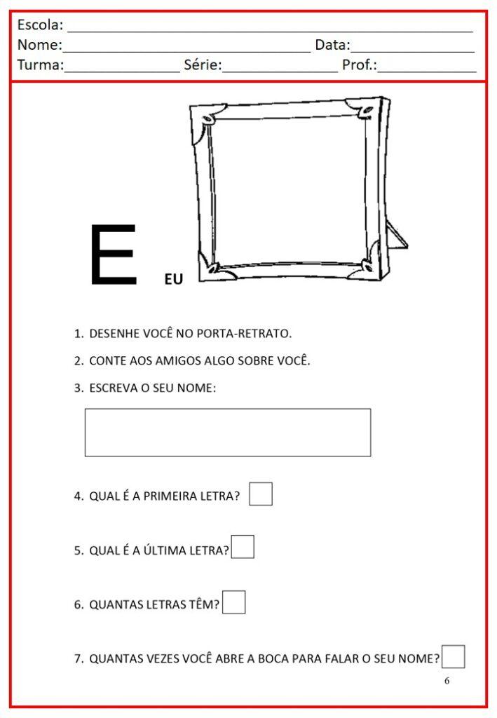 Apostila de Alfabetização em letra bastão