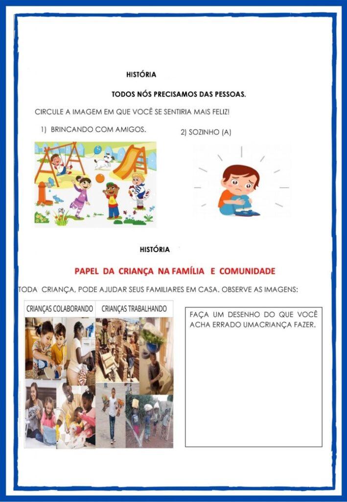 APOSTILA DE ATIVIDADES DE HISTÓRIA PARA O 1 ANO