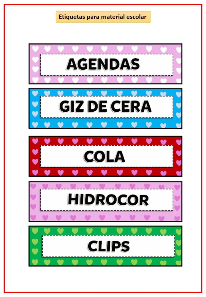 etiquetas para material escolar prontas para imprimir