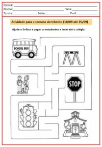ATIVIDADES PARA A SEMANA DO TRANSITO