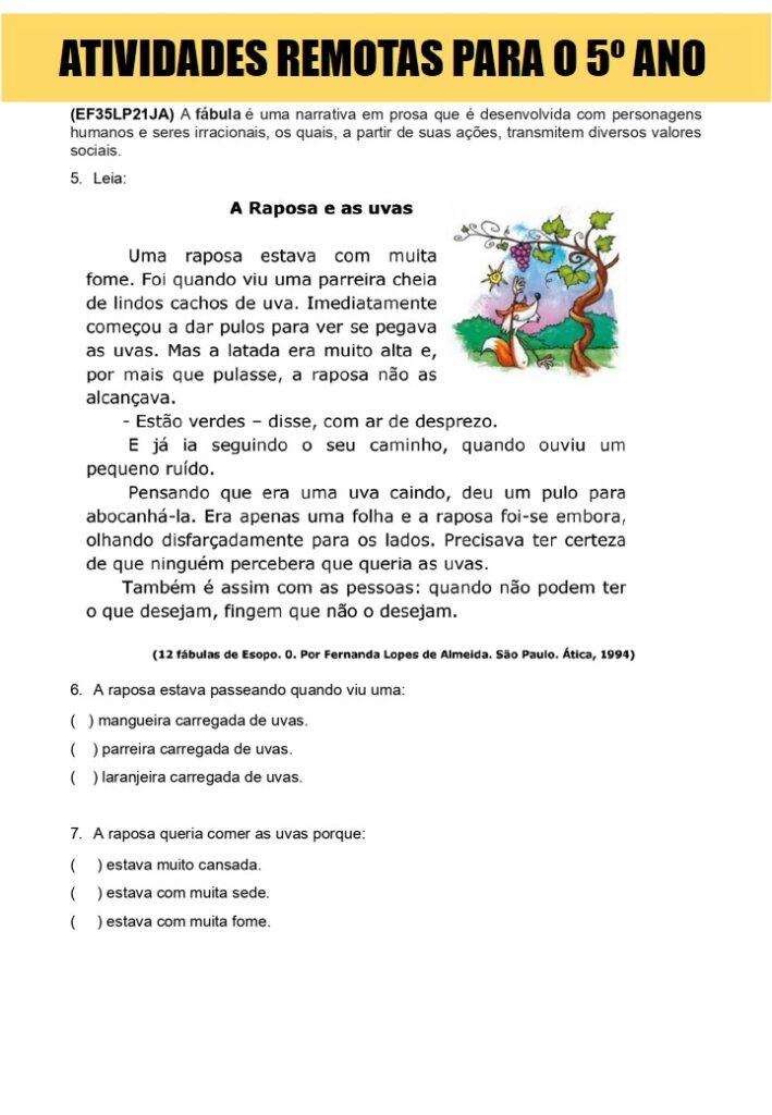 ATIVIDADES REMOTAS PARA 5 ANO
