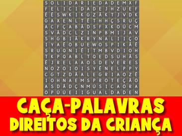 CAÇA-PALAVRAS DIREITOS DA CRIANÇA