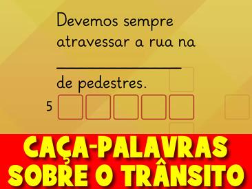 CAÇA-PALAVRAS SOBRE O TRÂNSITO